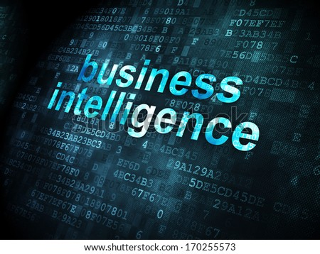 Business concept: pixelated words Business Intelligence on digital background, 3d render - stock photo