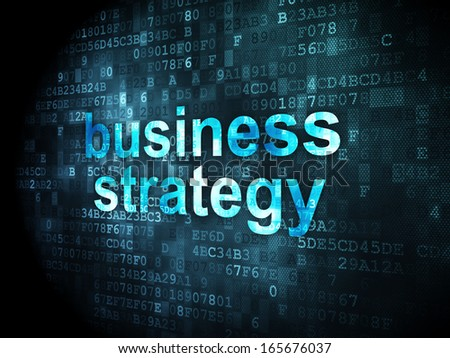 Business concept: pixelated words Business Strategy on digital background, 3d render - stock photo