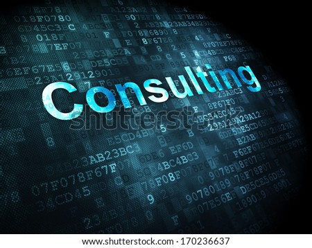 Business concept: pixelated words Consulting on digital background, 3d render - stock photo