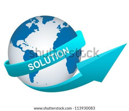 Business Concept Present By Blue Solution Arrow Around The Blue World Isolated on White Background - stock photo