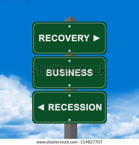 Business Concept Present By Blue Street Sign Pointing to Recovery, Business And Recession Against A Blue Sky Background - stock photo