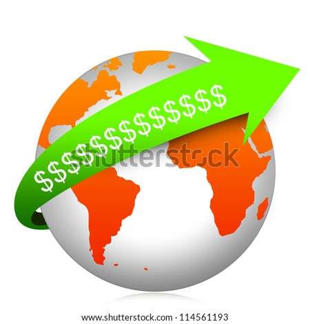 Business Concept Present By Green Dollar Sign Arrow On The Orange Globe Isolated On White Background - stock photo