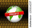 Business Concept Present by Green Globe With Red Profit Band In Orange Dollar Sign Background - stock photo
