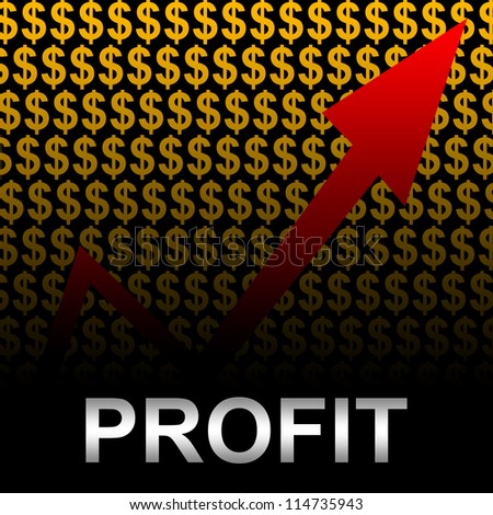 Business Concept Present by Silver Profit Text With The Rising Arrow In Orange Dollar Sign Background - stock photo