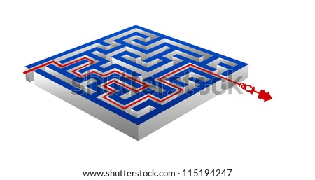 Business Concept Present By The Maze And The Rich Arrow Isolated on White Background - stock photo