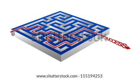 Business Concept Present By The Maze And The Success Arrow Isolated on White Background - stock photo