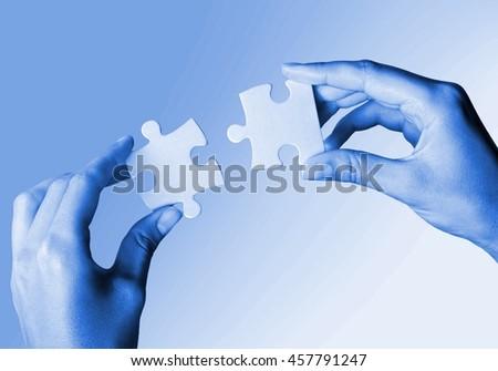 Business concept: puzzle pieces. - stock photo