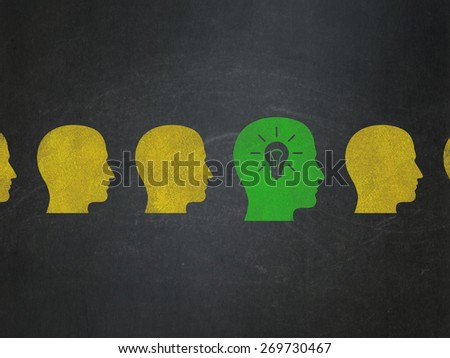 Business concept: row of Painted yellow head icons around green head with light bulb icon on School Board background, 3d render - stock photo