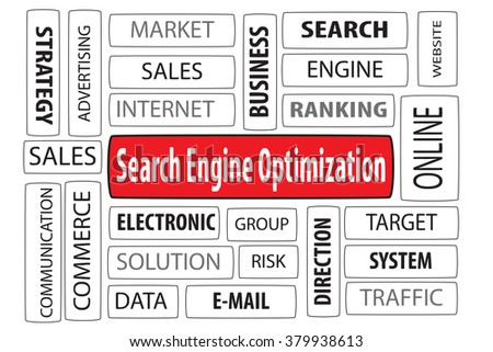 Business Concept: SEO (search engine optimization) word cloud on white background - stock photo