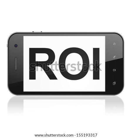 Business concept: smartphone with text ROI on display. Mobile smart phone on White background, cell phone 3d render - stock photo