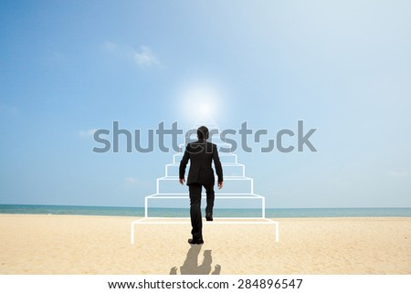 Business Concept. Stairs to success. - stock photo