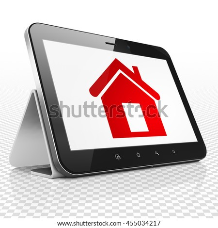 Business concept: Tablet Computer with red Home icon on display, 3D rendering - stock photo