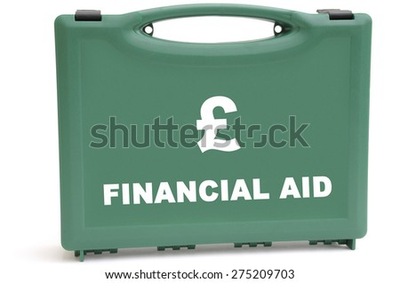 Business concept to illustrate a sterling financial rescue package, using a first aid box. - stock photo