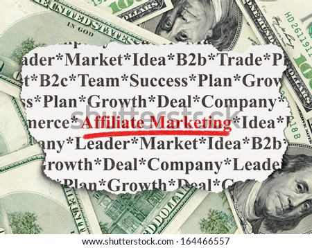 Business concept: torn newspaper with words Affiliate Marketing on Money background, 3d render - stock photo