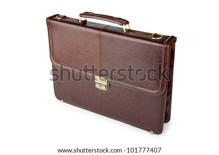 Business concept with briefcase on white - stock photo