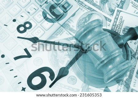 Business concept with calculator, judge gavel, clock, money and documents  - stock photo