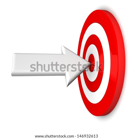 Business concept with 3d darts in bullseye. Dart Hitting A Target, Isolated On White Background - stock photo