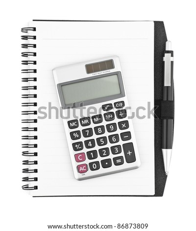 Business concept with notebook, calculator and pen - stock photo