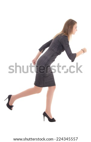 business concept - woman in dress running isolated on white background - stock photo