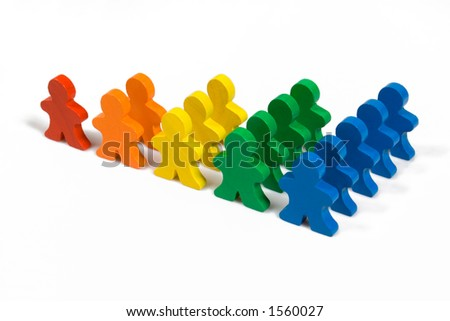 Business concepts illustrated with colorful wooden people - growth in business. - stock photo