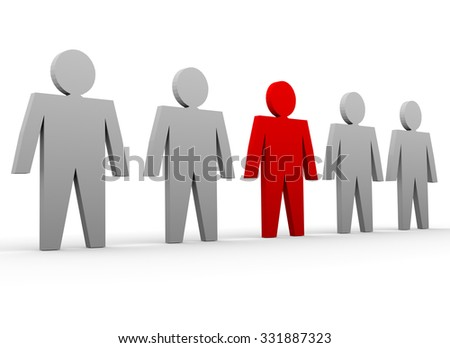 Business concepts illustration. Individuality and leadership in team - stock photo