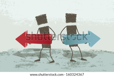 Business Concepts. Opposite directions.  - stock photo