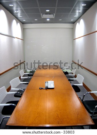 Business Conference Room with phone on table (2 of 2 Photo) - stock photo