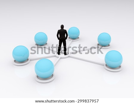 Business connection concept, abstract 3d - stock photo