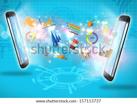 business connections,social media concept - stock photo