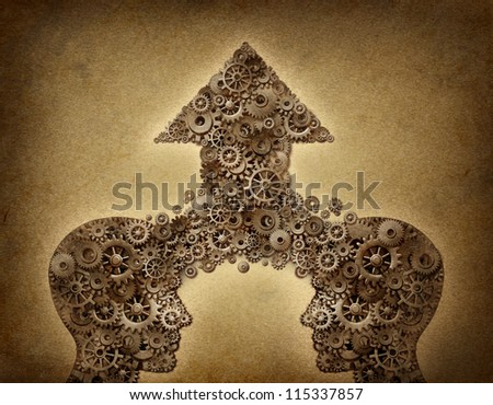 Business cooperation success teamwork growth concept with two human head shapes merging together to form an upward arrow made of gears and cogs as a financial symbol on a grunge old parchment paper. - stock photo