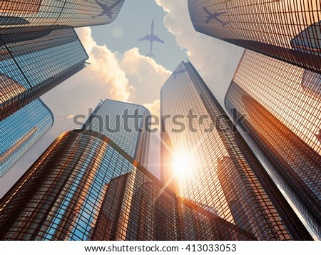 Business corporate construction industry and real estate financial concept: 3D render illustration of sunset with modern high tall glass reflective skyscrapers in city downtown district and airliner - stock photo