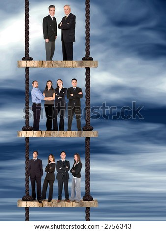 business corporate team on a ladder of success over an abstract sky - stock photo