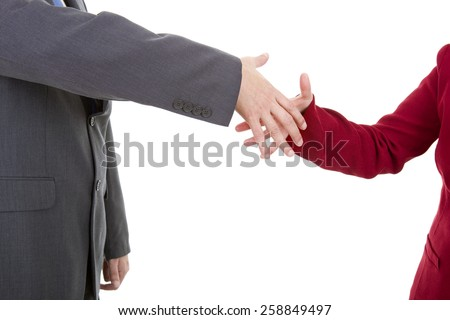 business couple shaking hands isolated over a white background - stock photo