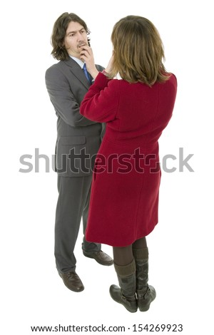 business couple talking, full length, isolated on white - stock photo