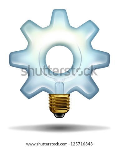 Business creativity and ideas with a lightbulb illuminated glass in the shape of a gear or cog as a concept of creative success in innovation and bright thinking on a white background, - stock photo