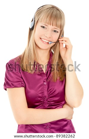 Business customer service woman smiling isolated on white - stock photo