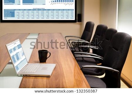 Business data information projector board in conference room, meeting room, boardroom, Classroom, Office. - stock photo