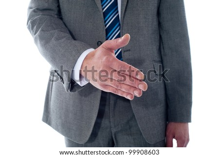 Business deal, close-up shot. Businessman offering handshake - stock photo
