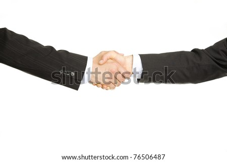 Business deal. Two hands in business gesture - stock photo