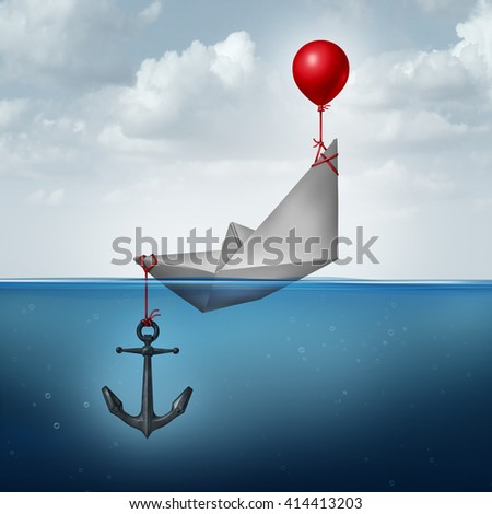 Business decision problem and inefficient strategy concept as a paper boat being lifted and drowned simultaneously as a financial indecision icon with 3D illustration elements. - stock photo