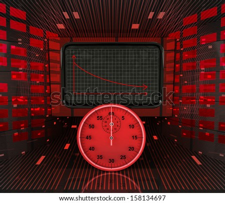 business decrease or negative results depending on time illustration  - stock photo