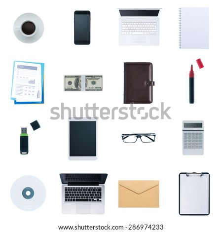 Business desktop objects isolated on white background: laptop, tablet, smartphone, calculator usb stick, paperwork and other items, top view - stock photo