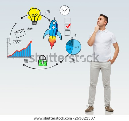 business, development, management and people concept - smiling man with hands in pockets looking up over gray background - stock photo