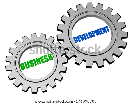business development - text in 3d silver grey metal gear wheels, business concept words - stock photo