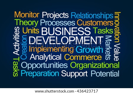 Business Development Word Cloud on Blue Background - stock photo