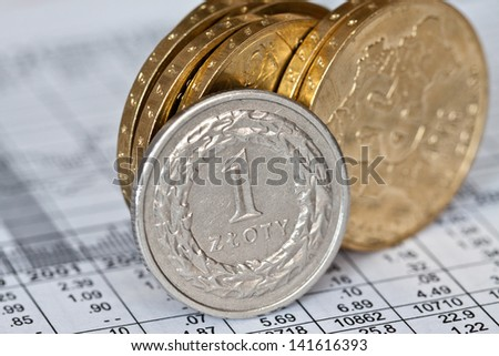 Business diagram on financial report with coins. Polish money. - stock photo