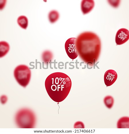 Business discounts background with blurred balloons  - stock photo