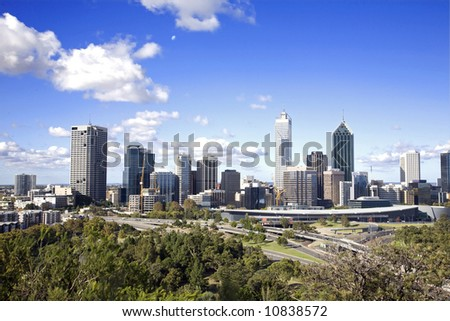 business district in the summer - stock photo