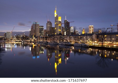 Business district of Frankfurt-am-Main at sunset - stock photo