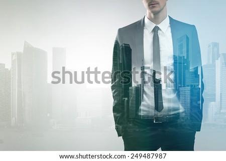 Business Double Exposure - stock photo